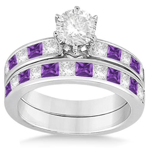 Channel Amethyst & Diamond Bridal Set Palladium (1.30ct)
