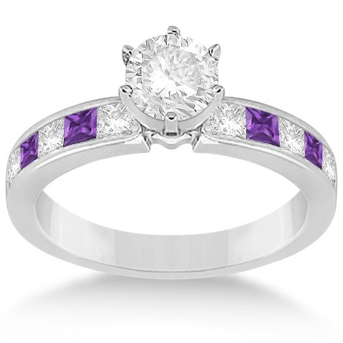 Channel Amethyst & Diamond Bridal Set Platinum (1.30ct)