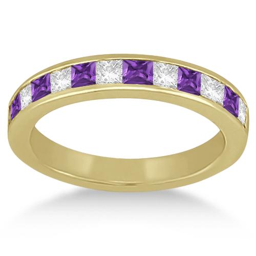 Channel Amethyst & Diamond Wedding Ring 14k Yellow Gold (0.70ct)