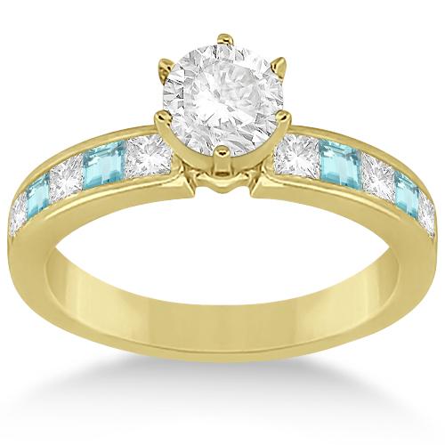Channel Aquamarine & Diamond Engagement Ring 14k Yellow Gold (0.60ct)