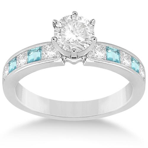 Channel Aquamarine & Diamond Engagement Ring Platinum (0.60ct)