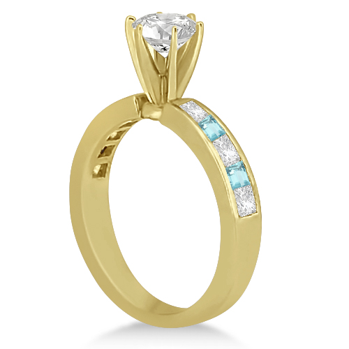 Channel Aquamarine & Diamond Bridal Set 14k Yellow Gold (1.30ct)