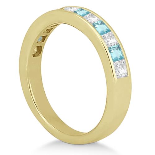 Channel Aquamarine & Diamond Bridal Set 18k Yellow Gold (1.30ct)