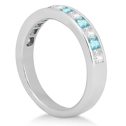 Channel Aquamarine & Diamond Wedding Ring 18k White Gold (0.70ct)