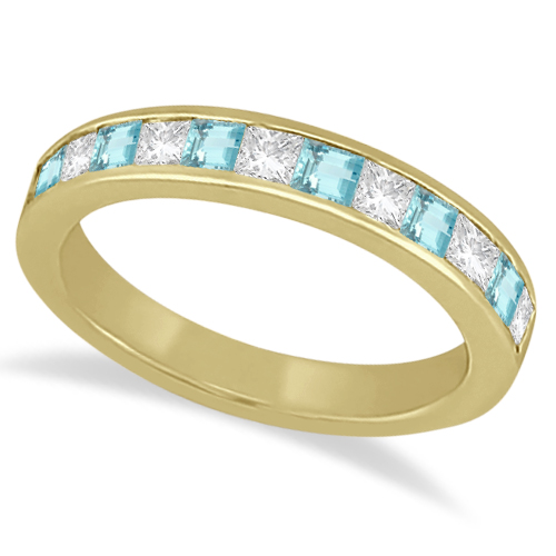 Channel Aquamarine & Diamond Wedding Ring 18k Yellow Gold (0.70ct)