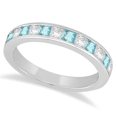 Channel Aquamarine & Diamond Wedding Ring Platinum (0.70ct)