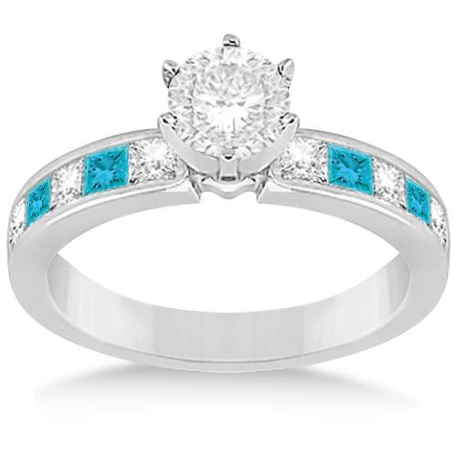 Princess White & Blue Diamond Engagement Ring in Beautiful Palladium 0.50ct