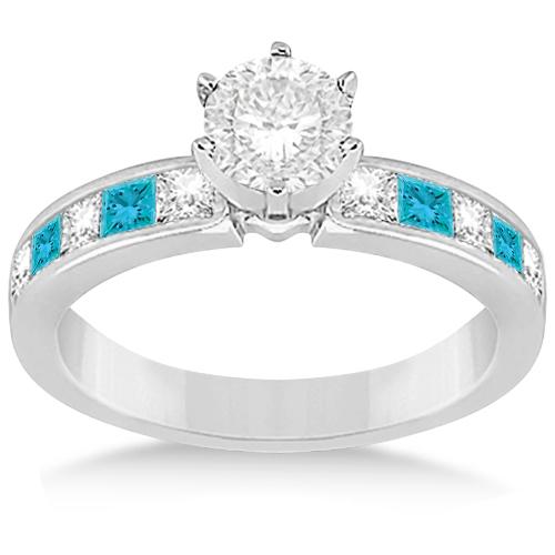 Princess Cut White & Blue Diamond Bridal Set 14K White Gold (1.10ct)