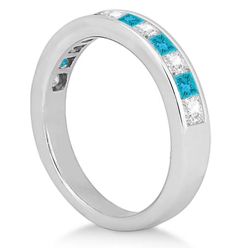 Princess Cut White & Blue Diamond Wedding Band 18K White Gold (0.60ct)