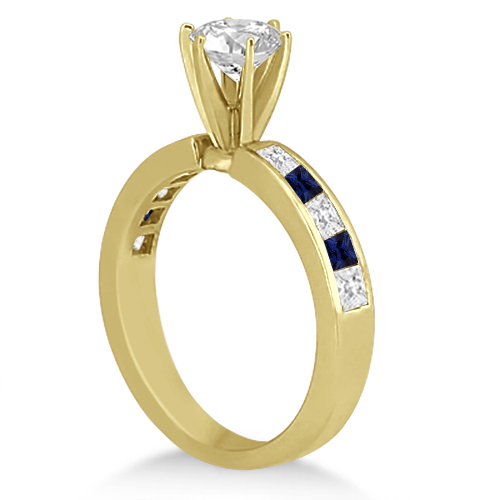 Channel Blue Sapphire & Diamond Engagement Ring 18k Yellow Gold (0.60ct)