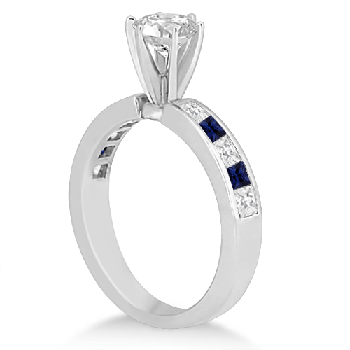 Channel Blue Sapphire & Diamond Bridal Set 18k White Gold (1.30ct)