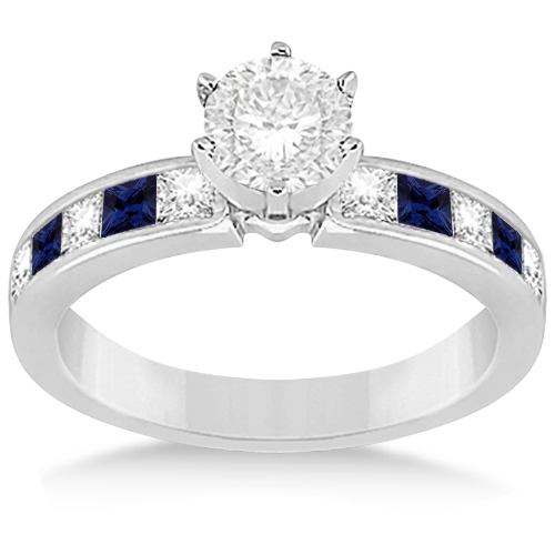 Channel Blue Sapphire & Diamond Bridal Set Platinum (1.30ct)