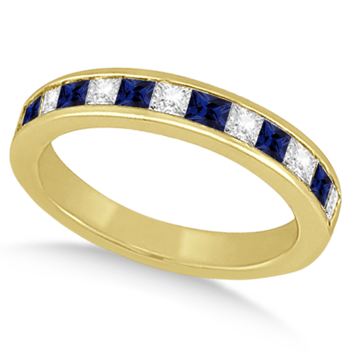 Channel Blue Sapphire & Diamond Wedding Ring 14k Yellow Gold (0.70ct)