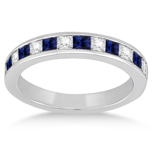 Channel Blue Sapphire & Diamond Wedding Ring Palladium (0.70ct)
