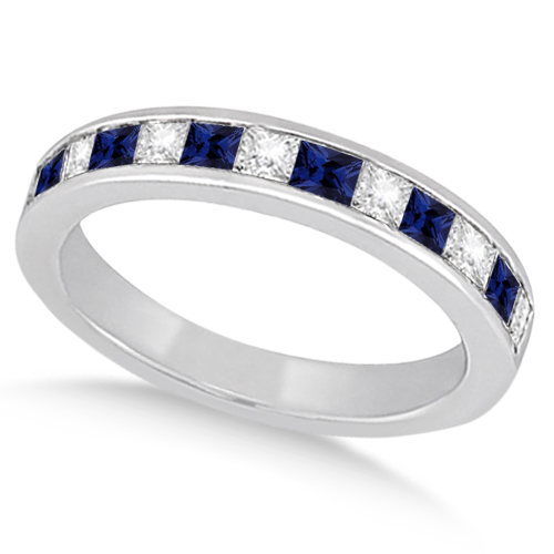 Channel Blue Sapphire & Diamond Wedding Ring Platinum (0.70ct)