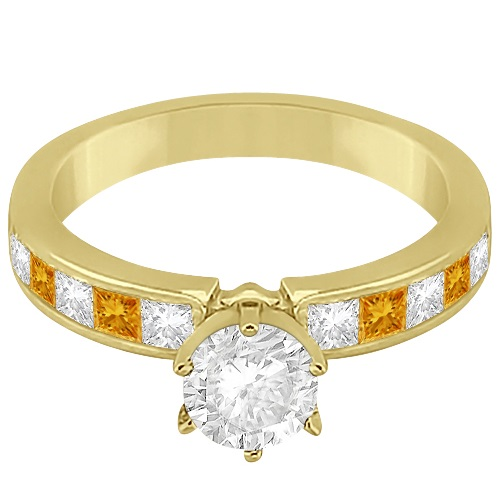 Channel Citrine & Diamond Engagement Ring 14k Yellow Gold (0.60ct)
