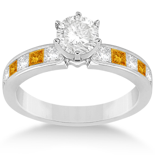 Channel Citrine & Diamond Bridal Set Platinum (1.30ct)