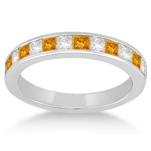 Channel Citrine & Diamond Wedding Ring 18k White Gold (0.70ct)