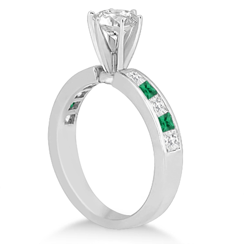 Channel Emerald & Diamond Engagement Ring 14k White Gold (0.50ct)