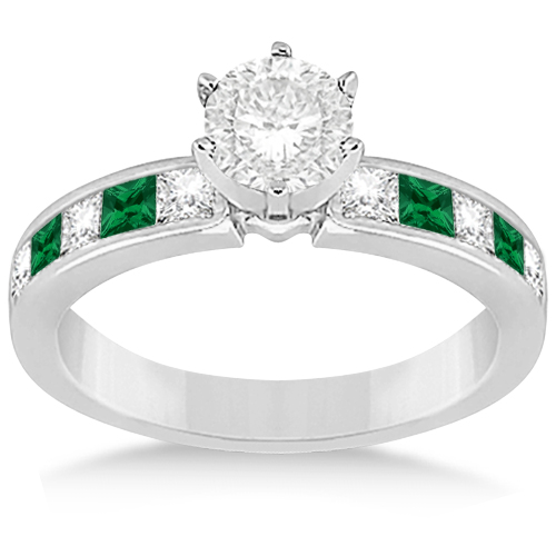 Channel Emerald & Diamond Engagement Ring Palladium (0.50ct)