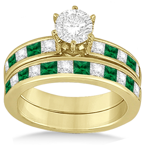 Channel Emerald & Diamond Bridal Set 14k Yellow Gold (1.10ct)