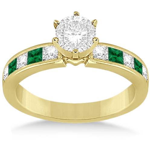 Channel Emerald & Diamond Bridal Set 18k Yellow Gold (1.10ct)