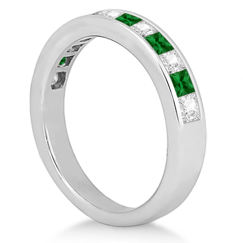 Channel Emerald & Diamond Wedding Ring 14k White Gold (0.60ct)