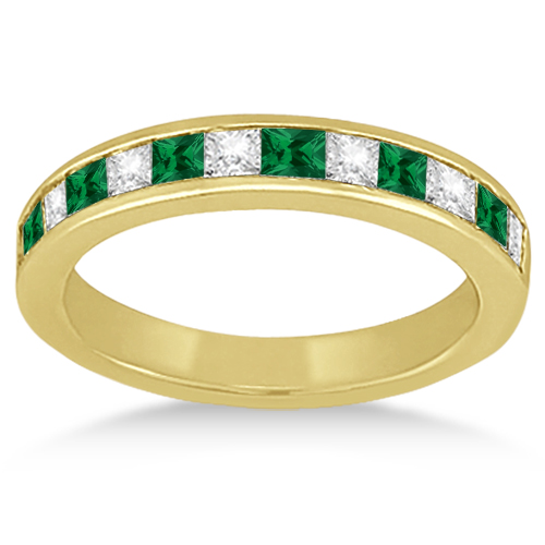 Channel Emerald & Diamond Wedding Ring 18k Yellow Gold (0.60ct)