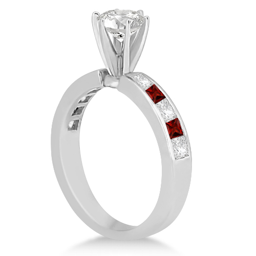 Channel Garnet & Diamond Engagement Ring 14k White Gold (0.60ct)