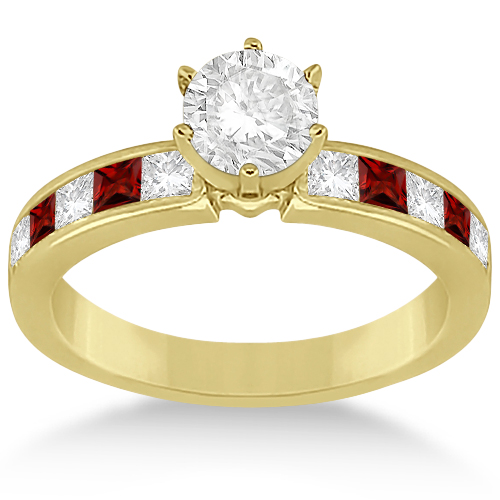 Channel Garnet & Diamond Engagement Ring 14k Yellow Gold (0.60ct)