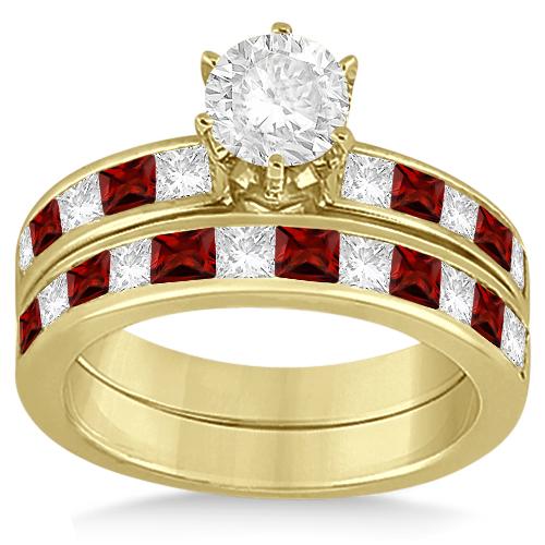 Channel Garnet & Diamond Bridal Set 18k Yellow Gold (1.30ct)