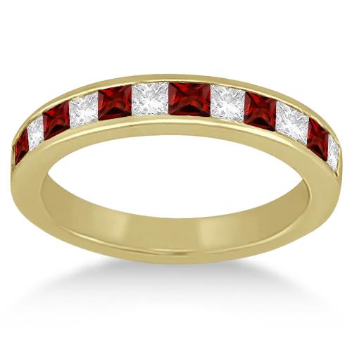Channel Garnet & Diamond Wedding Ring 14k Yellow Gold (0.70ct)