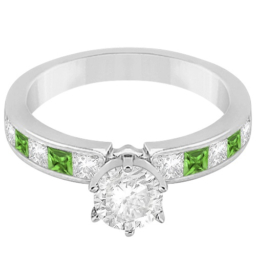 Channel Peridot & Diamond Engagement Ring 14k White Gold (0.60ct)