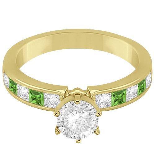 Channel Peridot & Diamond Engagement Ring 14k Yellow Gold (0.60ct)