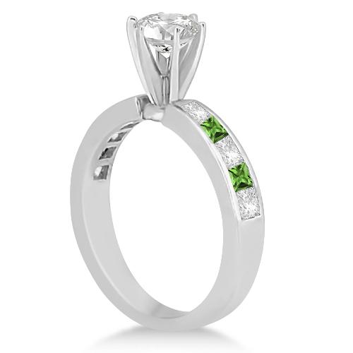 Channel Peridot & Diamond Engagement Ring 18k White Gold (0.60ct)