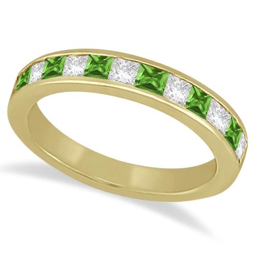 Channel Peridot & Diamond Bridal Set 14k Yellow Gold (1.30ct)