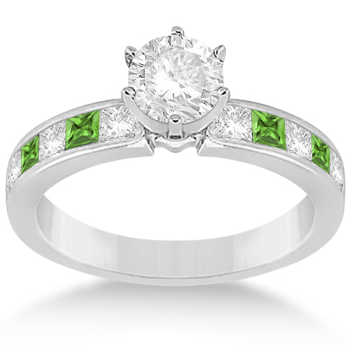 Channel Peridot & Diamond Bridal Set Palladium (1.30ct)