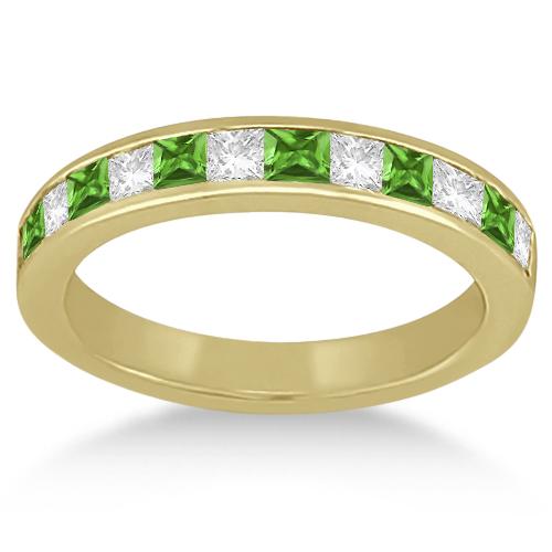 Channel Peridot & Diamond Wedding Ring 14k Yellow Gold (0.70ct)