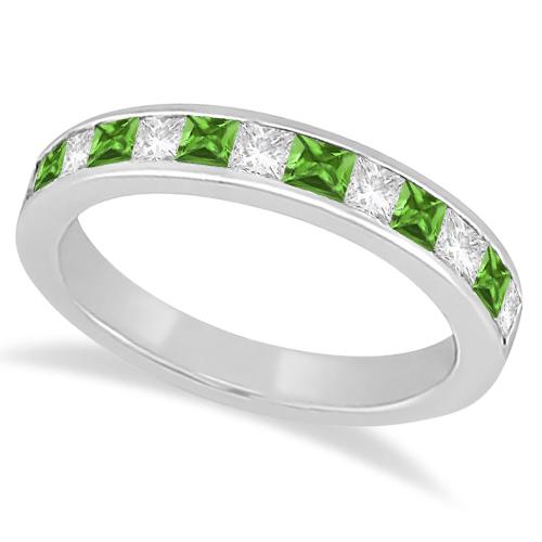 Channel Peridot & Diamond Wedding Ring Palladium (0.70ct)