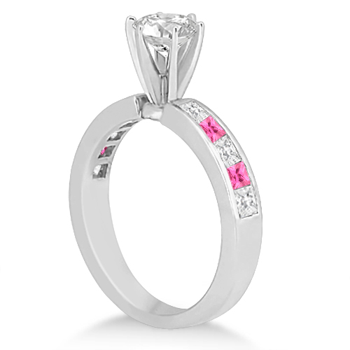 Channel Pink Sapphire & Diamond Engagement Ring 14k White Gold (0.60ct)