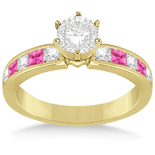 Channel Pink Sapphire & Diamond Engagement Ring 14k Yellow Gold (0.60ct)