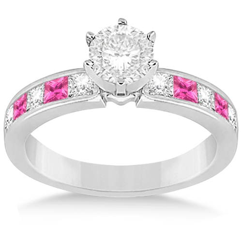 Channel Pink Sapphire & Diamond Engagement Ring 18k White Gold (0.60ct)