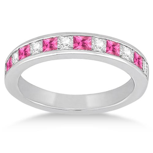 Channel Pink Sapphire & Diamond Bridal Set 18k White Gold (1.30ct)