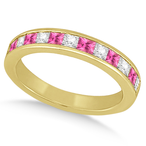Channel Pink Sapphire & Diamond Wedding Ring 14k Yellow Gold (0.70ct)