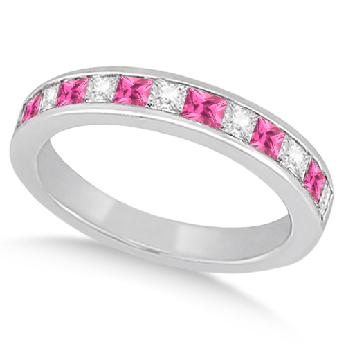 Channel Pink Sapphire & Diamond Wedding Ring Palladium (0.70ct)