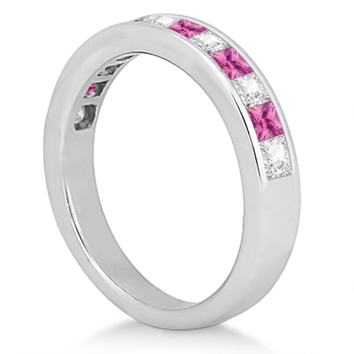 Channel Pink Sapphire & Diamond Wedding Ring Platinum (0.70ct)
