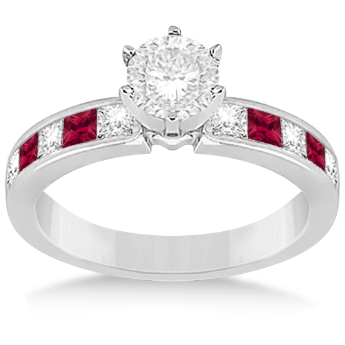 Channel Ruby & Diamond Engagement Ring 18k White Gold (0.60ct)