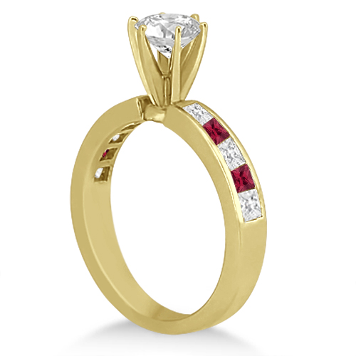 Channel Ruby & Diamond Engagement Ring 18k Yellow Gold (0.60ct)