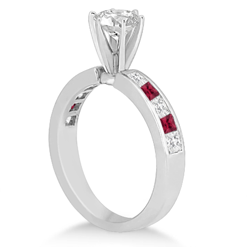 Channel Ruby & Diamond Bridal Set 14k White Gold (1.30ct)