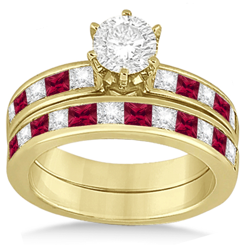Channel Ruby & Diamond Bridal Set 18k Yellow Gold (1.30ct)